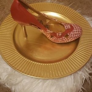 Vintage Style Naughty Monkey Red and Cream Heels
